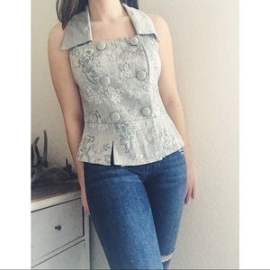 Vintage Double Breasted Button Vest Top